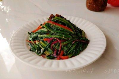 香菇肉酱炒青菜