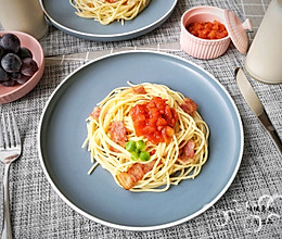 茄汁培根意面#硬核菜谱制作人#的做法