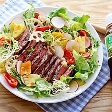 牛排果蔬沙拉-丘比沙拉汁青梅口味