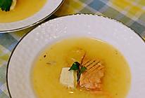日料-健脑补钙孩子爱喝的三文鱼骨豆腐味噌汤的做法