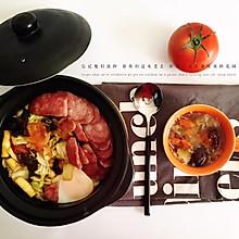自制腊肠时蔬砂锅米饭