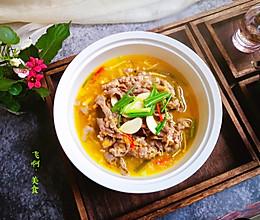 #炎夏消暑就吃「它」#酸爽微辣鲜的金汤肥牛金针菇的做法