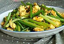 快手菜~蒜苔炒鸡蛋。的做法