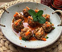 #餐桌上的春日限定#宝宝最爱的长高菜:肉丸蒸虾的做法