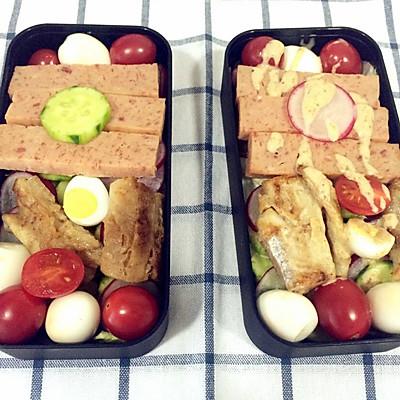 便当沙拉-午餐肉鳕鱼蔬菜沙拉