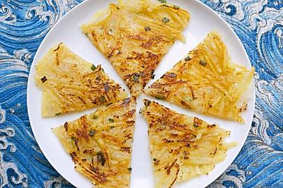 快手早餐~香葱土豆丝饼+溏心煎蛋+鲜榨番茄汁