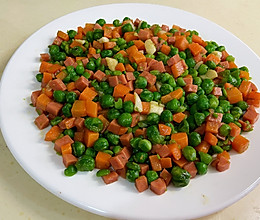 青豆胡萝卜丁炒火腿的做法
