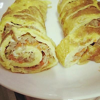 胡萝卜猪肉鸡蛋卷