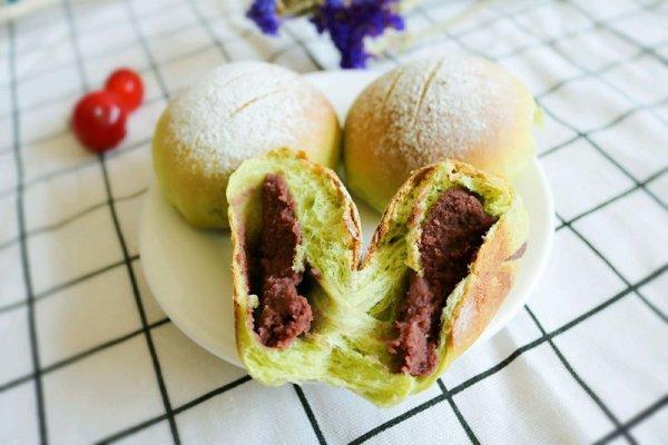 抹茶土司&抹茶豆沙面包的做法