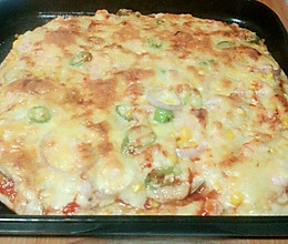 虾仁蘑菇披萨的做法