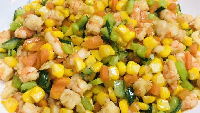 鲜甜可口的炒虾仁玉米