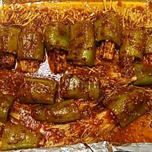 烤金针菇辣椒卷