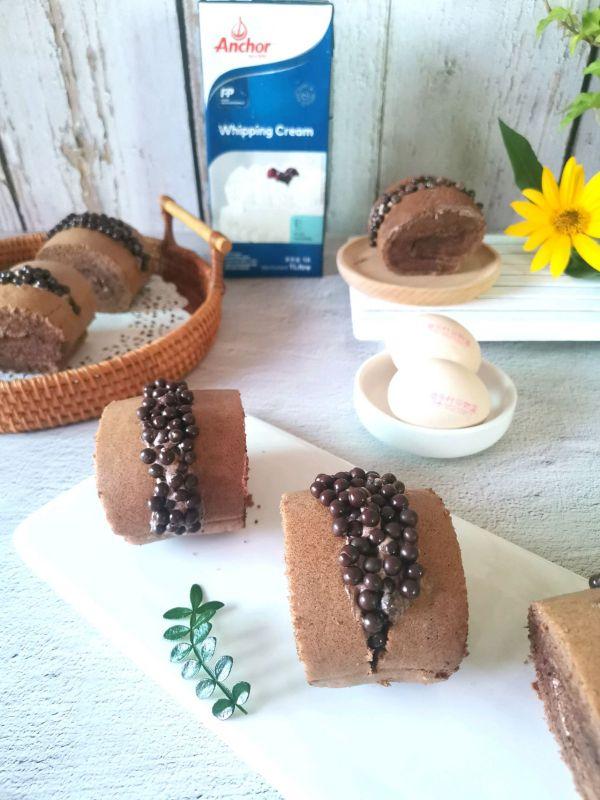 脆脆珠蛋糕卷的做法