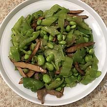 春日限定:最简单美味的家常菜,你一定要会!青椒毛豆干子炒肉丝