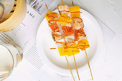 串串新吃法之三文鱼彩椒串
