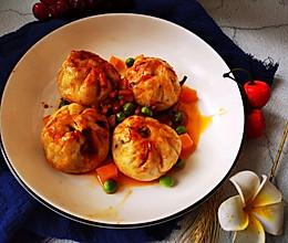 辣椒酱香煎菜肉包子的做法
