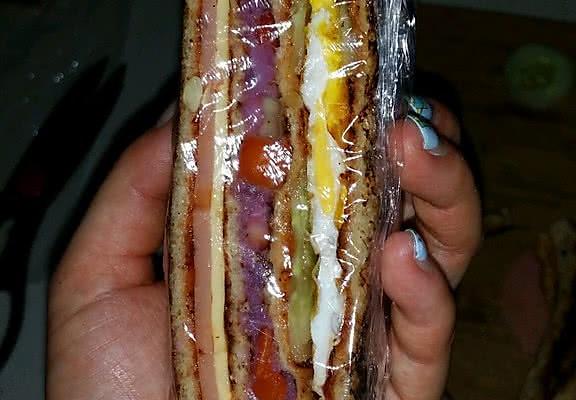 火腿紫薯鸡蛋三明治的做法