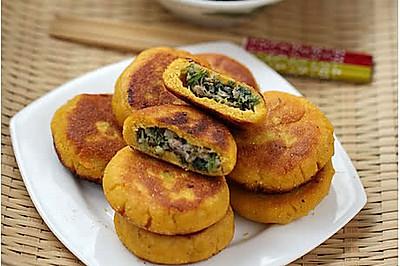 苦苣香菇玉米面贴饼子