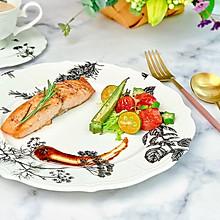 #肉食者联盟#香烤三文鱼佐时蔬酱汁