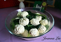 减肥餐 小白菜汆丸子(鸡肉)的做法