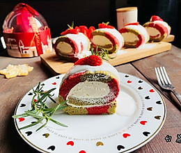 """#甜蜜暖冬,""""焙""""感幸福#高颜值圣诞双色蛋糕卷的做法"""