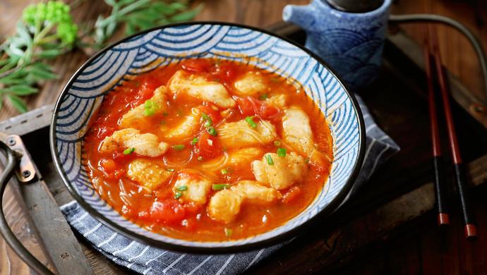 龙利鱼粉丝番茄汤