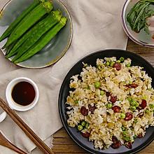 广式腊肠炒饭配海鲜菇番茄汤 太阳猫早餐