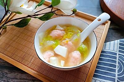 虾滑豆腐白菜汤