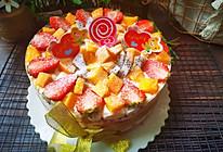#以美食的名义说爱她#红丝绒水果裸蛋糕的做法