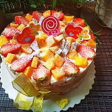 #以美食的名义说爱她#红丝绒水果裸蛋糕