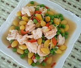 青豆白果炒虾仁的做法