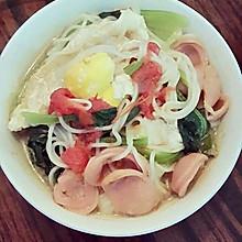 鸡蛋青菜面条
