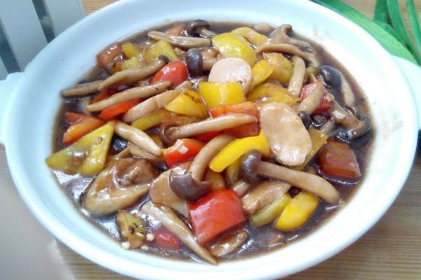 彩椒炒双菇的做法