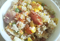 什锦焖饭——豌豆胡萝卜玉米香肠鸡蛋(偏甜)闷饭的做法