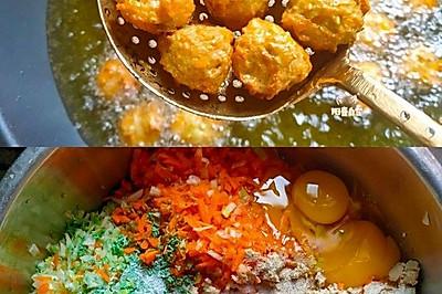 经典家常炸萝卜素丸子(不油腻外焦里软)炸豆腐丸子