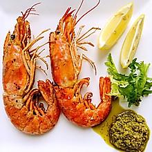 饭合丨煎阿根廷红虾配青酱