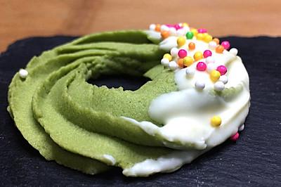 抹茶圣诞花环饼干,森林般清新的感觉,淡淡茶香配上黄油浓郁奶香