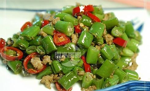 榄菜肉碎四季豆  的做法