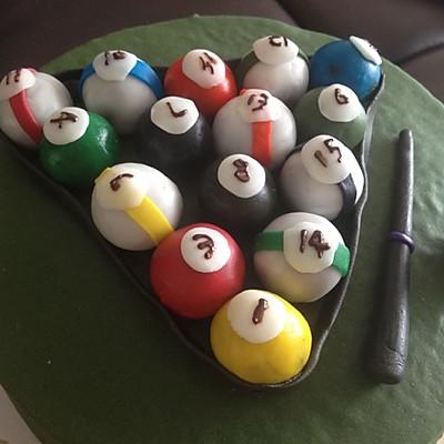 彩虹翻糖桌球蛋糕