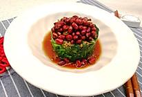 #味达美名厨福气汁,新春添口福#花生米拌菠菜的做法
