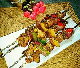 黑椒彩椒鸡肉串的做法