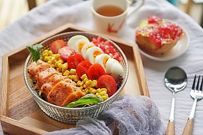 健身食谱 石榴藜麦三文鱼色拉,高蛋白轻食餐#硬核菜谱制作人#