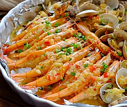 蒜蓉金针菇烤花蛤虾的做法