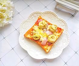 #快手又营养,我家的冬日必备菜品#5分钟搞定的蔬菜吐司披萨的做法