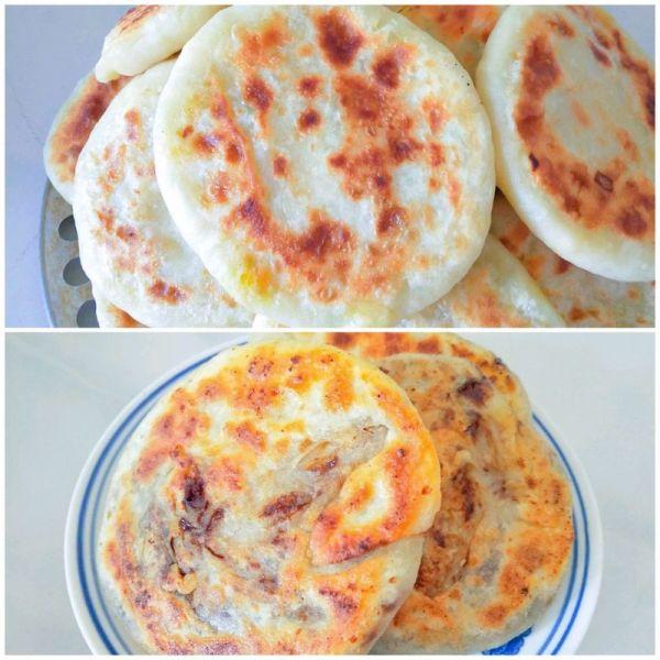 南瓜虾皮鸡蛋素馅饼/麻酱红糖饼的做法