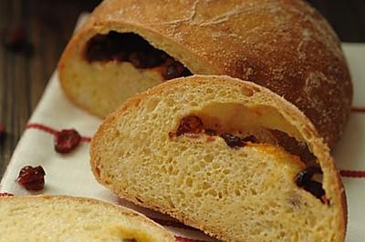 5分钟面包(6)-蔓越莓玉米面包(用铸铁锅烤欧式面包方法总结)