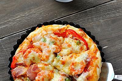 厚底鮮蝦培根披薩