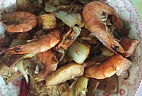 大虾炒炸豆腐的做法