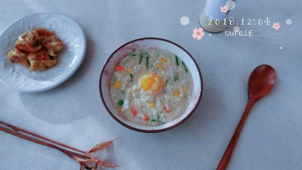 杂菜鸡蛋粟米粥的做法