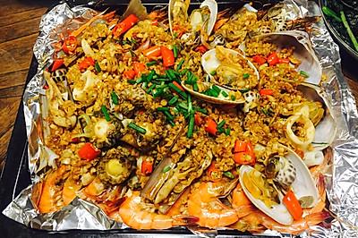 烤箱做的海鲜大餐拼盘